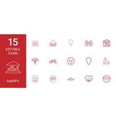 Happy icons vector