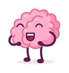 Happy pink brain laughing funny human nervous vector