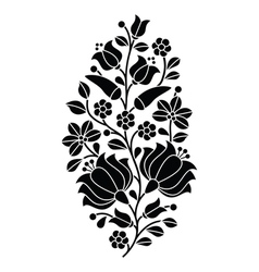 Hungarian black folk pattern - Kalocsai embroidery vector image