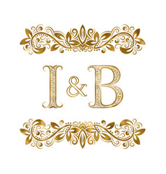 I and b vintage initials logo symbol the letters vector