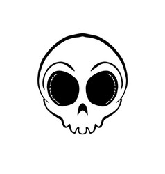 Iconic round skull in black and white vector