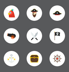 Icons flat style anchor black mark pirate and vector