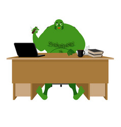 internet troll big green goblin sits at laptop vector image
