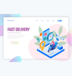 isometric fast and free delivery man ride vector image
