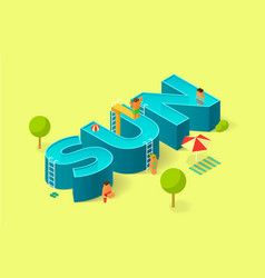isometric of pool in the form of sign sun vector image vector image