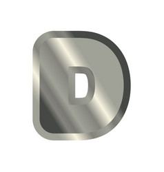 Letter d steel font metal alphabet sign iron abc vector