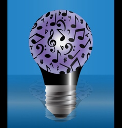 Light bulb covered with music notes vector