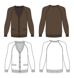 long sleeve cardigan vector image