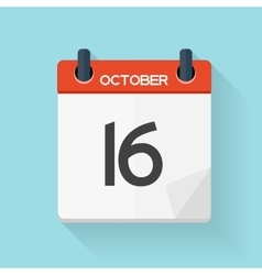 October 17 Calendar Flat Daily Icon vector image