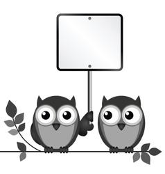 Owls Blank Sign vector