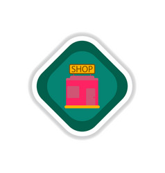 Paper sticker on white background shop vector