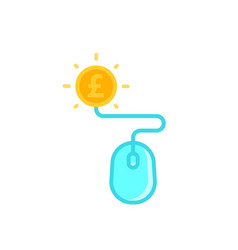 Pay per click icon with mouse and pound coin vector