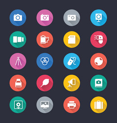 Photography simple color icons vector