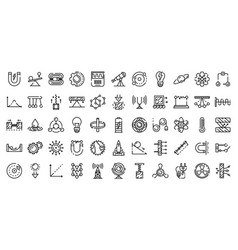 Physics icons set outline style vector