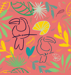 pink jungle tucan seamless pattern background vector image