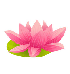 Pink lotus icon in cartoon style vector