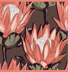 Protea seamless pattern design hand-drawn flower vector
