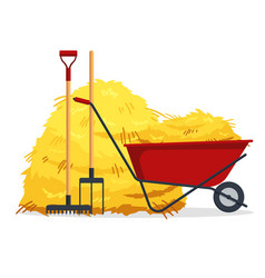 red flat gardening wheelbarrow with bale of hay vector image