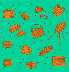 Retro devices pattern vector