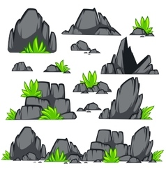 Rock stone cartoon flat style Set of different vector