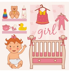 Room baby girl vector