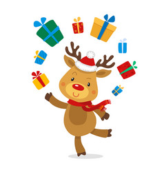 Santas reindeer rudolph and gifts vector