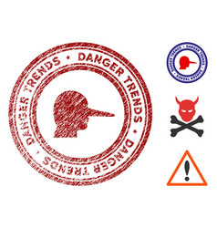 scammer danger trends seal with grungy style vector image