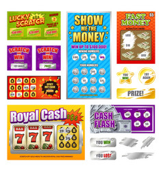 Scratch lottery cards set vector