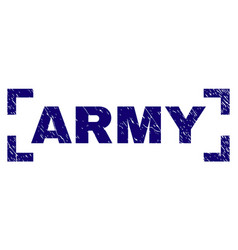 Scratched textured army stamp seal between corners vector