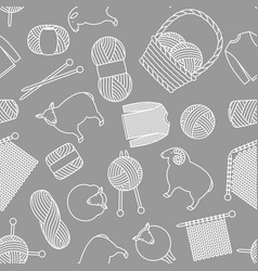 Seamless pattern with wool items goods for hand vector