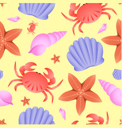 seamless sea theme pattern crab fish star and vector image