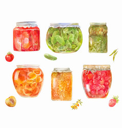 Set of canned tomatos cucumbers berries vector