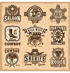 Set of wild west logos vector