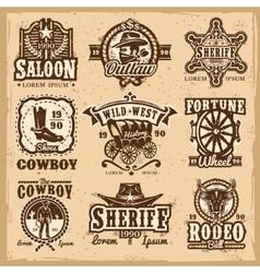 Set wild west logos vector