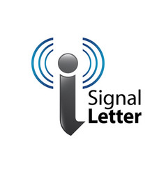signal initial letter i logo concept design vector image