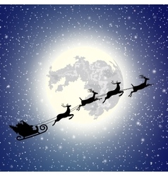 Silhouette Santa Claus sleigh vector