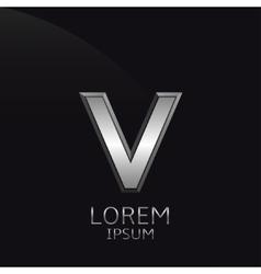 Silver V Letter emblem vector