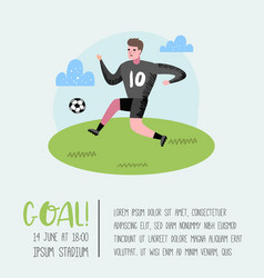 Soccer cartoon player poster football player vector