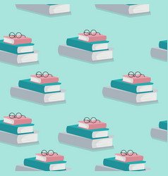 stack books with glasses pattern vector image