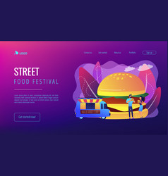 Street food concept landing page vector