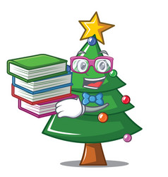Student with book christmas tree character cartoon vector