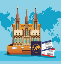 Suitcase with iconic world building and passport vector