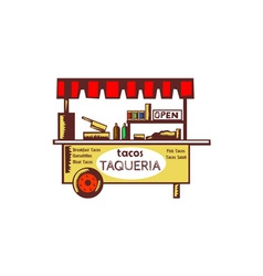Taco Stand Taqueria Stand Woodcut vector