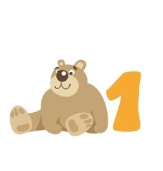Teddy bear sitting Number 1 vector
