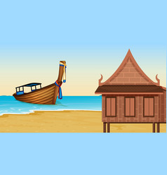 thai house next to the beach vector image