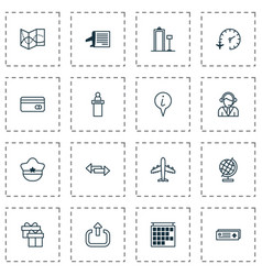 traveling icons set collection of airport card vector image