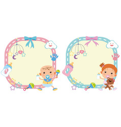 Two border template with baby boy and girl vector