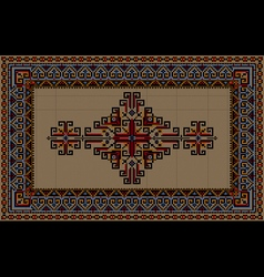 Vintage carpet with ethnic ornament on a beige vector