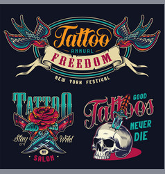 Vintage tattoo salon colorful prints vector