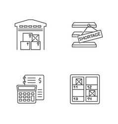 Warehouse management pixel perfect linear icons vector